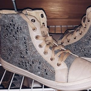 WANTED High top studded side zip tennis shoes